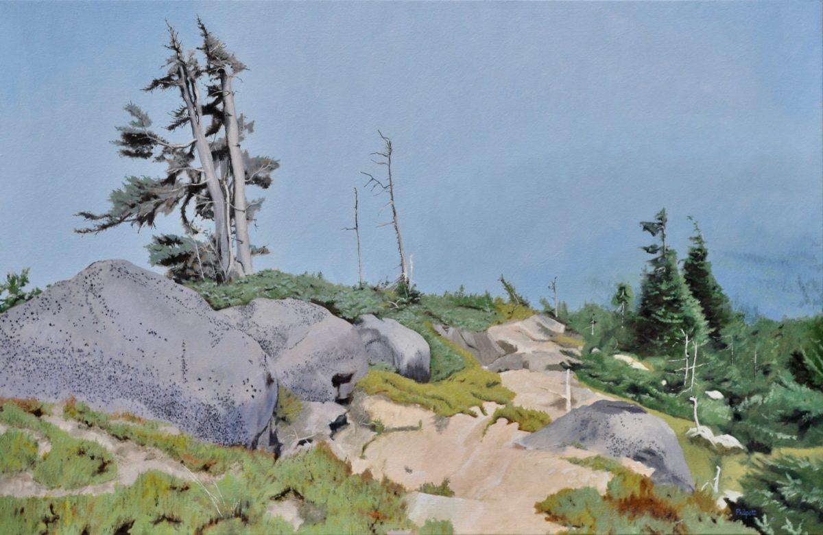 Descending Trail, oil on canvas, 26x40
